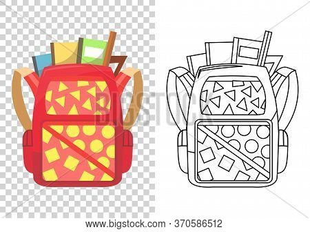 Kids School Backpack. Colorful School Bag. Education And Study, Backpack Icon. Extravagant Student S