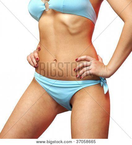 Closeup  shape of woman on white background
