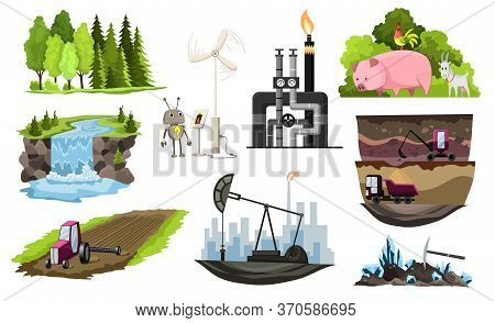 Collection Of Natural Resources Design. Vector Illustration Of Types National Treasure Oil, Gas, Dam