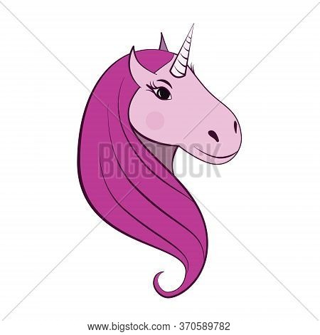 Cartoon Unicorn Head With Pink Mane And With A Blush On Its Cheeks. Isolated On White Background