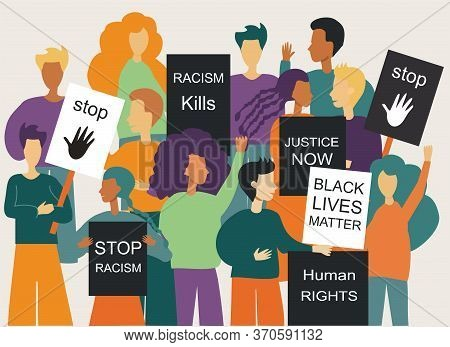 Illustration Of A Peaceful Crowd Protest Against Racism