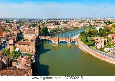 Castelvecchio Or Old Castle And Scaligero Bridge Aerial Panoramic View In Verona, Veneto Region In I