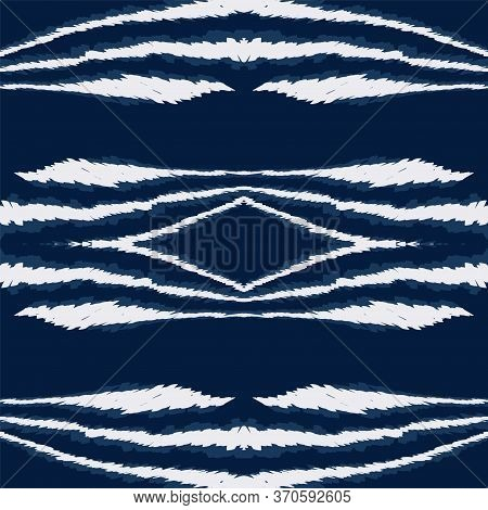 Blue Carpet Retro Vector Seamless Pattern. Traditional Ogee Tie Dye Print. Repeat Indian Texture. Co