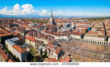 Turin City Aerial Panoramic View, Piedmont Region Of Italy