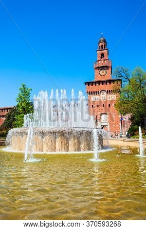 Sforza Castle Or Castello Sforzesco Is Located In Milan City In Northern Italy.