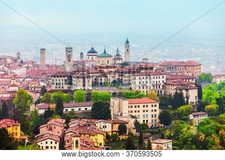 Bergamo Upper Town Aerial Panoramic View. Bergamo Is A City In The Alpine Lombardy Region Of Norther