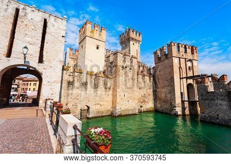 Scaligero Castle Is A Fortress In The Historical Center Of Sirmione Town At The Garda Lake In Italy