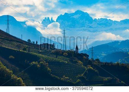 Dolomite Mountains Aerial Panoramic View From Bolzano. Bolzano Is The Capital City Of The South Tyro