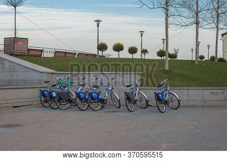 Kiev, Ukraine - March 26, 2020: Nextbike Public Bicycle Parking. Bicycles For Hire On Postal Square