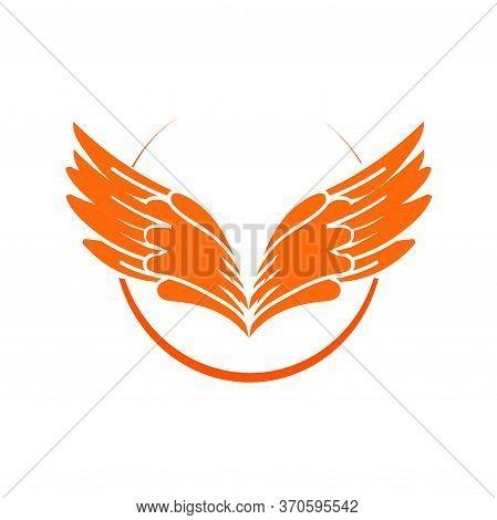 Yellow Sun Angel Wing Logo And Icon Illustration