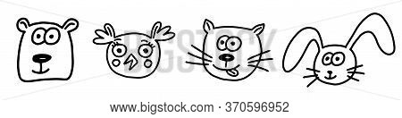 Animals Doodle Set. Hand Drawn Lines Cartoon Animal Collection. Bear, Bunny, Cat, Owl. Vector Illust