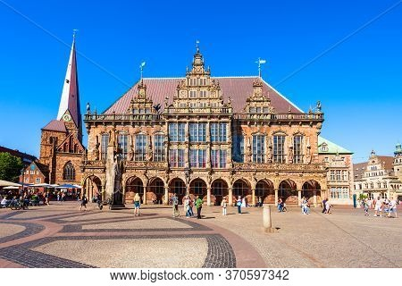 Bremen, Germany - July 06, 2018: Bremen City Hall Or Rathaus In The Old Town Of Bremen, Germany