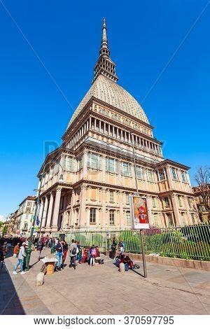 Turin, Italy - April 08, 2019: The Mole Antonelliana Is A Major Landmark Building In Turin City, Pie