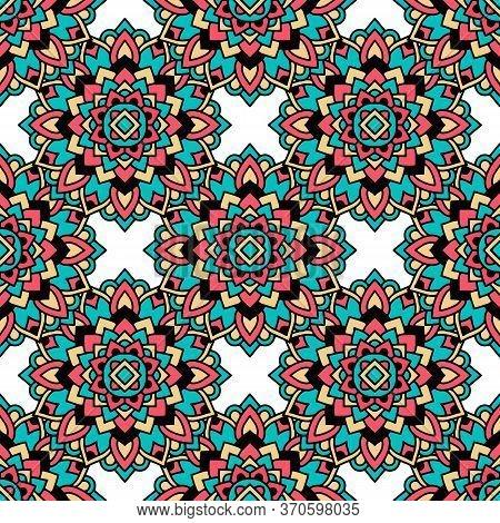 Aztec Tribal Pattern. Outline Illustration Of Aztec Tribal Vector Pattern For Web Design