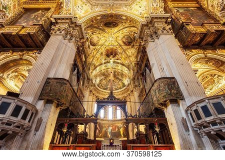 Bergamo, Italy - April 11, 2019: Santa Maria Maggiore Basilica Interior. The Basilica Of Santa Maria