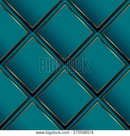 Waffle 3d Vector Seamless Pattern. Geometric Luxury Surface Background. Repeat Turquoise Waffled Mod
