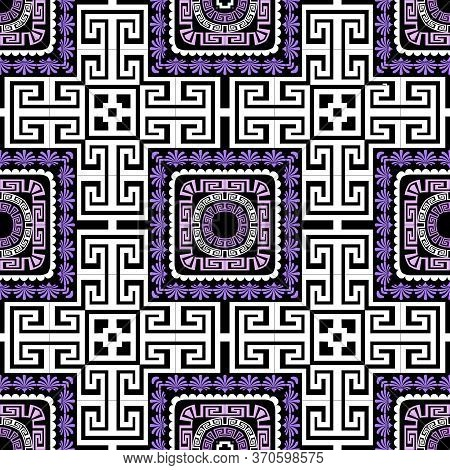 Floral Ethnic Plaid Greek Vector Seamless Pattern. Ornamental Tribal Geometric Background. Abstract