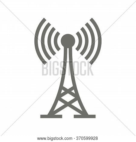 Grey Antenna Icon Isolated On White Background. Radio Antenna Wireless. Technology And Network Signa