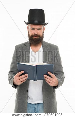 Book Of Poetry. Bearded Man Read Book. Brutal Bookworm Isolated On White. Unshaven Bibliophile. Read