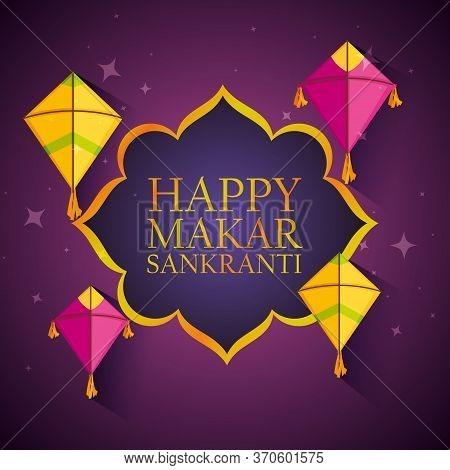 Happy Makar Sankranti Emblem With Kites Vector Illustration