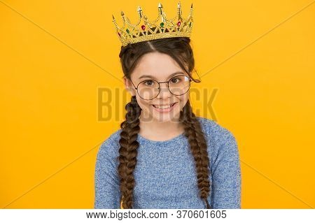 Accessorize Your Beauty. Little Beauty Queen Yellow Background. Beauty Look Of Small Girl. Junior Pr