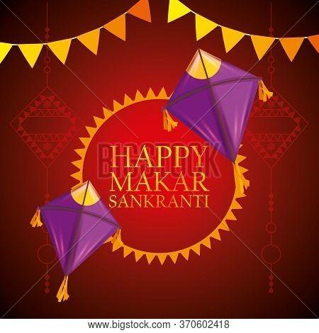 Makar Sankranti Emblem With Kites And Party Banner Vector Illustration