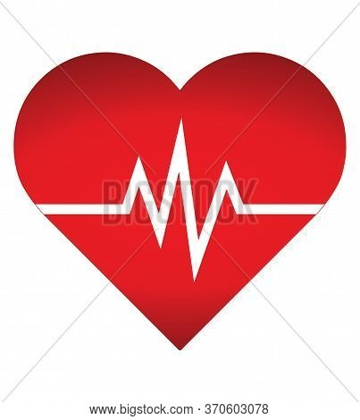 Heart Rate Icon - Health Monitor. Red Heart Rate.blood Pressure Vector Icon, Heart Cheering Cardiogr