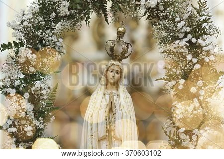 Statue Of The Image Of Our Lady Of Fatima, Mother Of God In The Catholic Religion, Our Lady Of The R