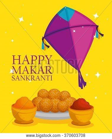 Kite With Food To Makar Sankranti Ceremony Vector Illustration