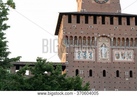 Sforza Castle, Castello Sforzesco In Milan, Italy, Was Built In 15th Century By Francesco Sforza, Du