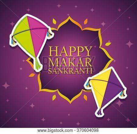 Happy Makar Sankranti Emblem With Kites Style Vector Illustration