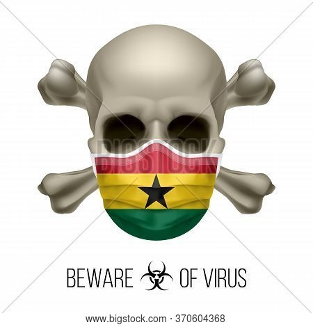 Human Skull With Crossbones And Surgical Mask In The Color Of National Flag Ghana. Mask In Form Of T