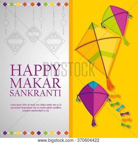 Kites To Celebrate Makar Sankranti Properity Ceremony Vector Illustration