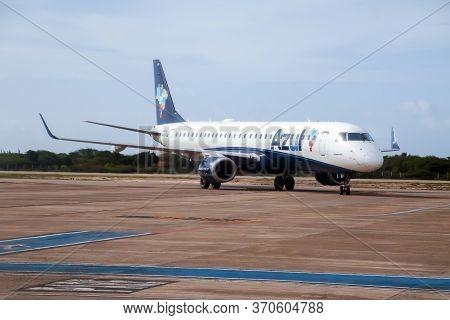 Cruz, Ce / Brazil - 2020-01-23: Embraer 195 Airplane Of The Airline Azul At Comandante Ariston Pesso