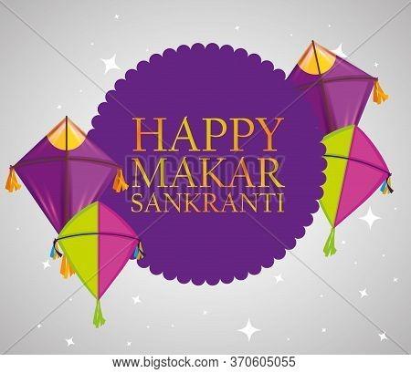 Happy Makar Sankranti Sticker With Kites Vector Illustration