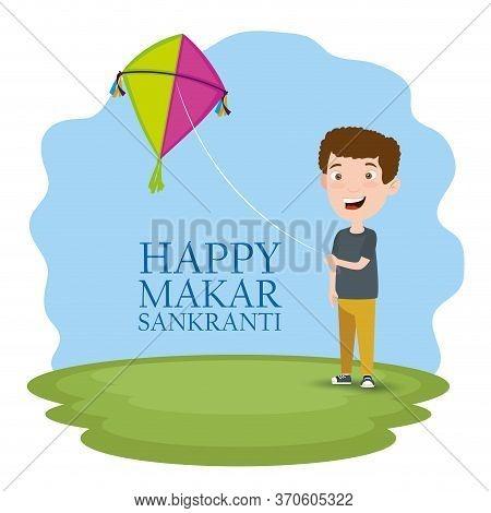 Boy With Kite To Celebrate Makar Sankranti Festival Vector Illustration