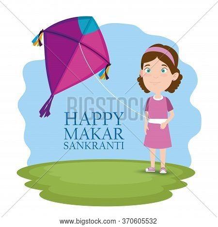 Girl With Kite To Celebrate Makar Sankranti Vector Illustration