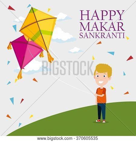 Boy And Kites To Celebrate Makar Sankranti Vector Illustration