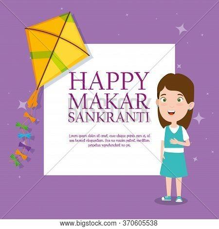 Girl With Kite To Celebrate Makar Sankranti Event Vector Illustration