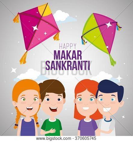 Children Celebrate Makar Sankranti With Kites Vector Illustration