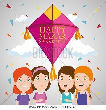 Children With Kite To Celebrate Makar Sankranti Vector Illustration