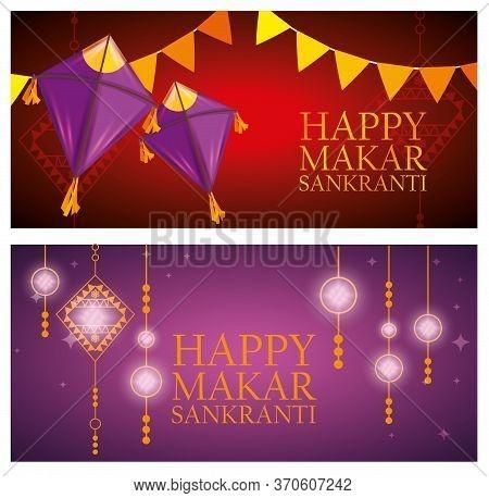Set Makar Sankranti Celebration With Party Banner And Kites Vector Illustration
