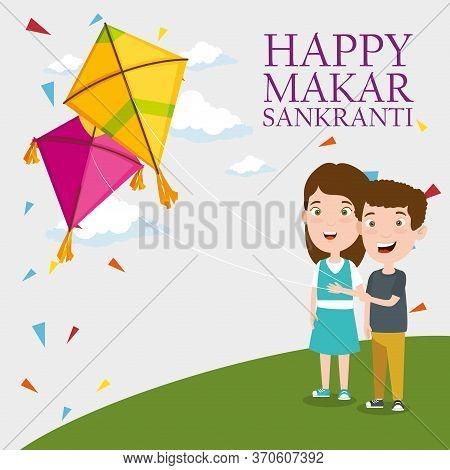 Boy And Girl With Makar Sankranti Celebration Vector Illustration