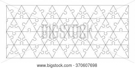 Set Of Black And White Triangle Puzzle Pieces Isolated On White Background. Vector Illustration