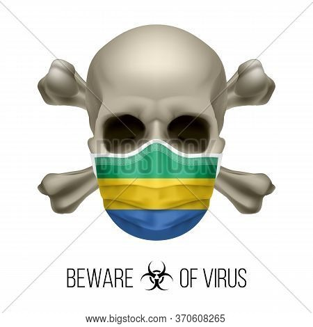 Human Skull With Crossbones And Surgical Mask In The Color Of National Flag Gabon. Mask In Form Of T