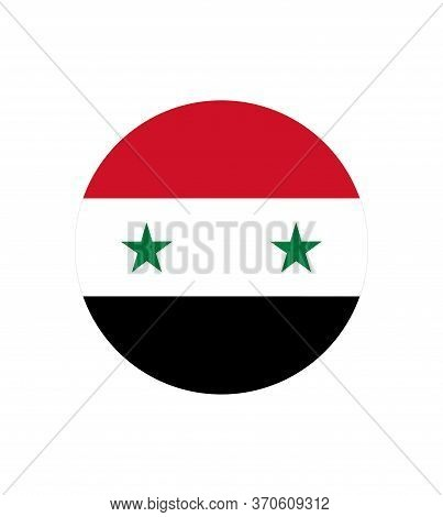 Flag Of Syria. Flag Of Syria Vector Page Symbol For Web Site Design Syria Flag Logo. Round Glossy Bu
