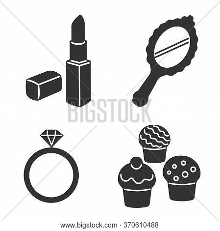 Woman Accessories Icons Set Of Gloves Shoes Hats Jewelry. Fashion Icons. Set Of Fashion Accessories.