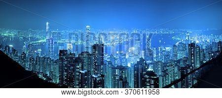 Panorama Vire Hongkong Cityscape At Night , Hong Kong City.