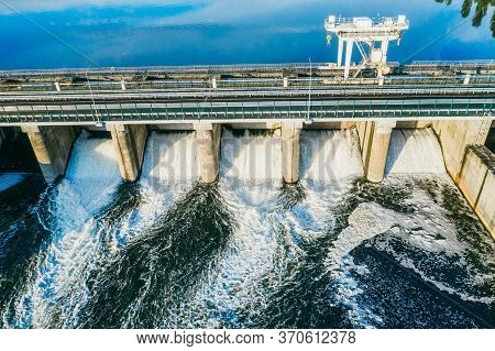 Hydroelectric Dam Or Hydro Power Station, Aerial View.