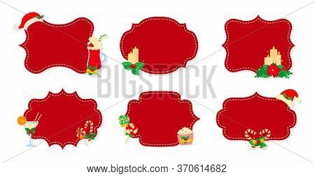Christmas Label And Tag Flat Set. Cartoon Holiday Collection Red Christmas Patch Labels. Christmas T